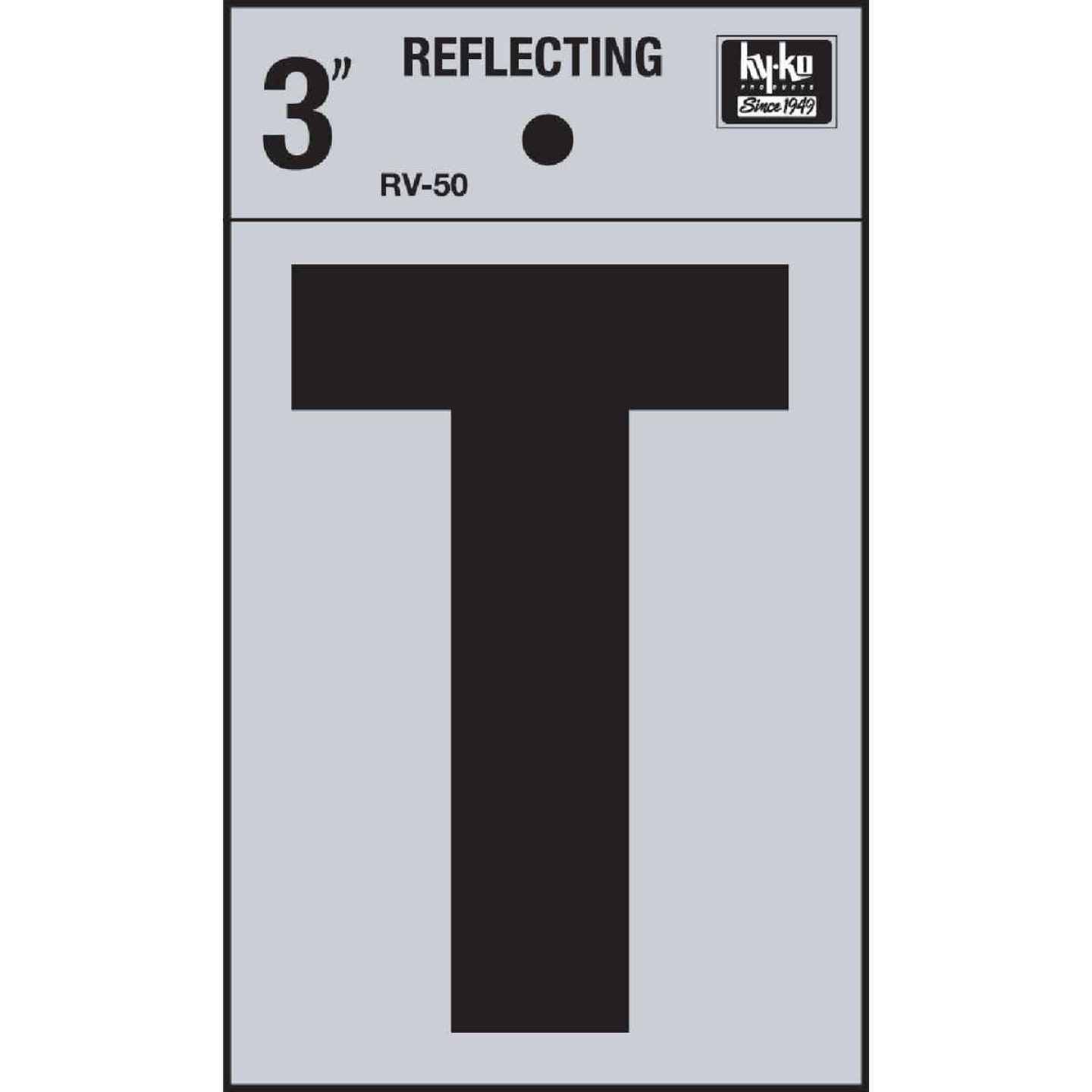 Hy-Ko Vinyl 3 In. Reflective Adhesive Letter, T Image 1