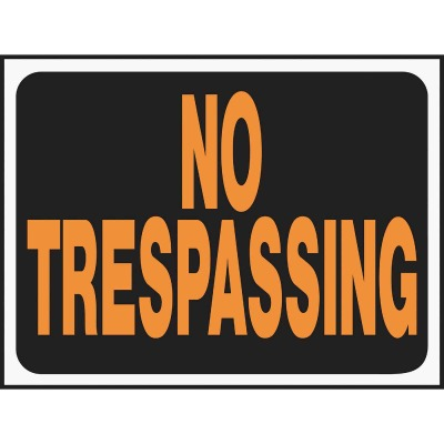 Hy-Ko Plastic Sign, No Trespassing