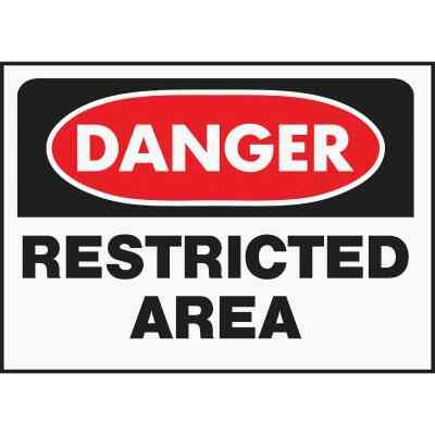 Hy-Ko Polyethylene Sign, Danger Restricted Area