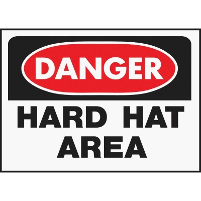 Hy-Ko Polyethylene Sign, Danger Hard Hat Area