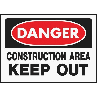 Hy-Ko Polyethylene Sign, Danger Contruction Area Keep Out