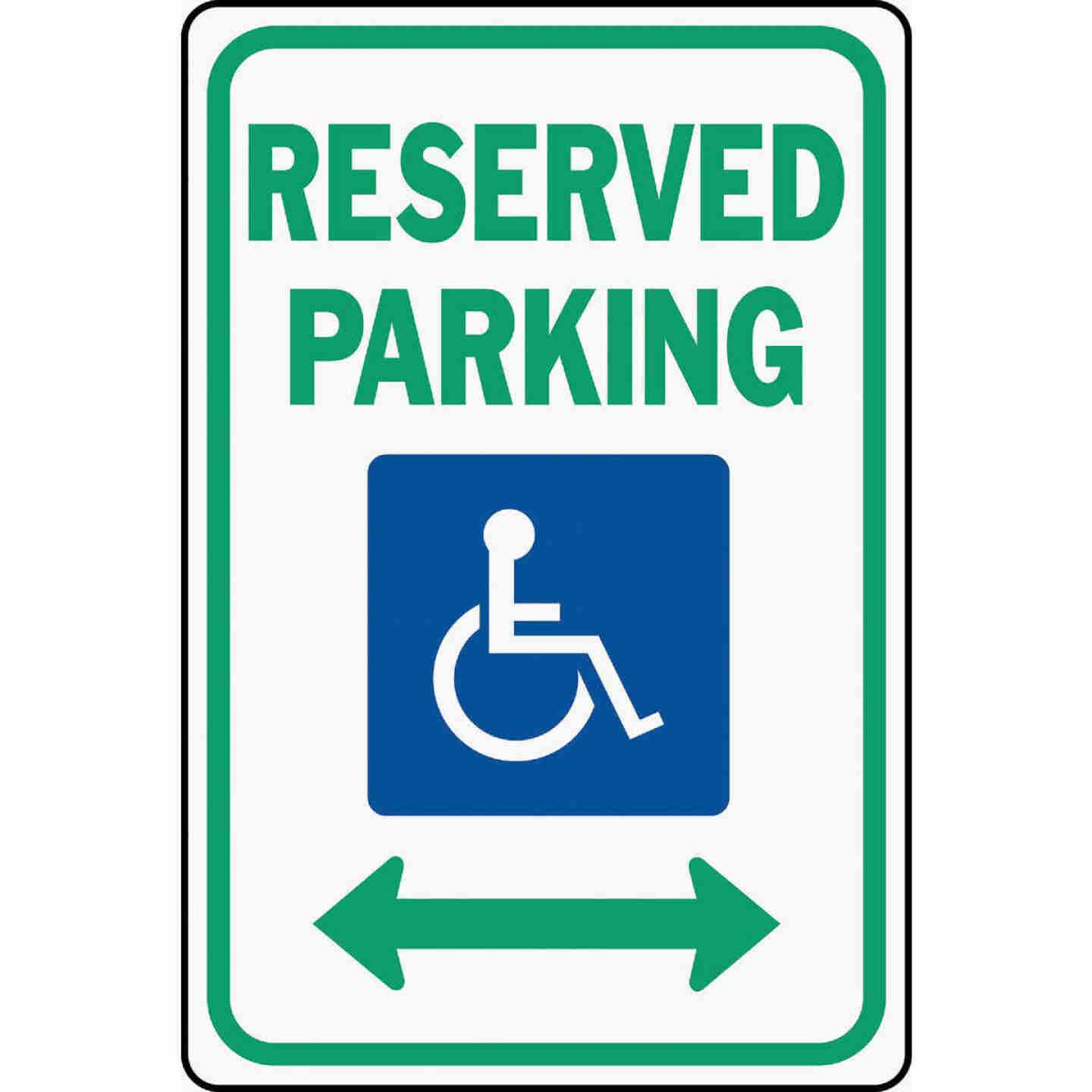 Hy-Ko Heavy-Duty Aluminum Sign, Reserved Parking Handicap Image 1