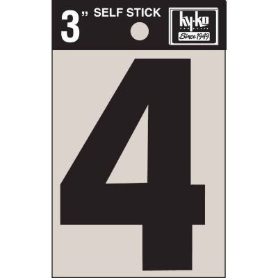 Hy-Ko Vinyl 3 In. Non-Reflective Adhesive Number Four