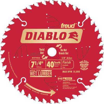 Diablo 7-1/4 In. 40-Tooth Finish Circular Saw Blade, Bulk