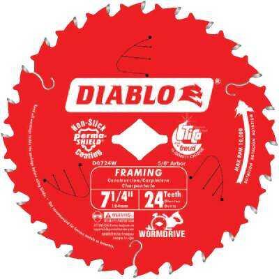 Diablo 7-1/4 In. 24-Tooth Framing Worm Drive Circular Saw Blade, Bulk