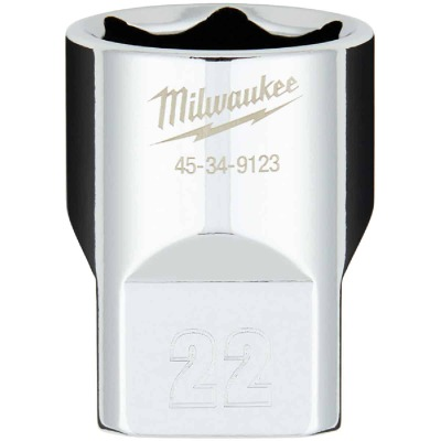 Milwaukee 1/2 In. Drive 22 mm 6-Point Shallow Metric Socket with FOUR FLAT Sides