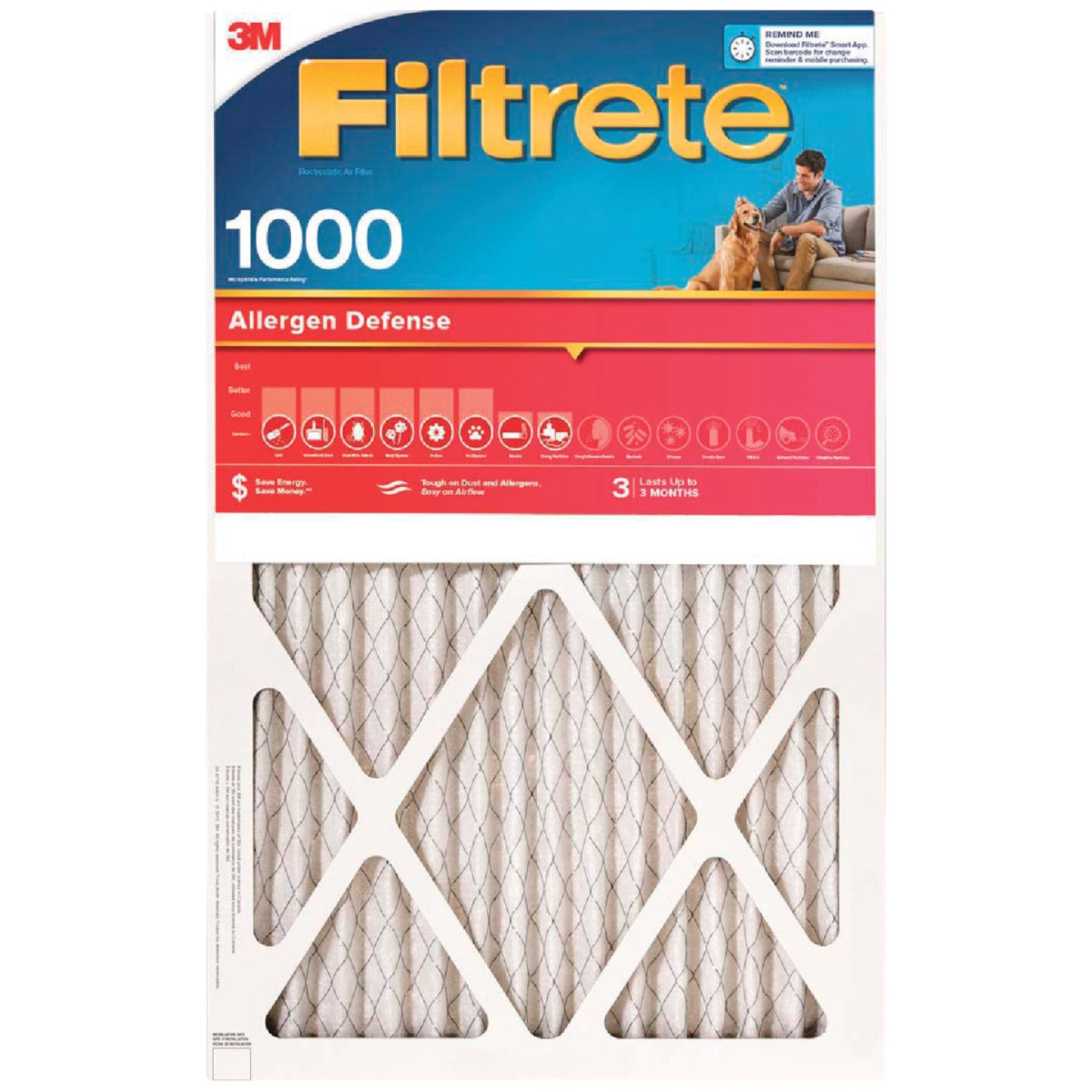 3M Filtrete 14 In. x 24 In. x 1 In. Allergen Defense 1000/1085 MPR Furnace Filter Image 1