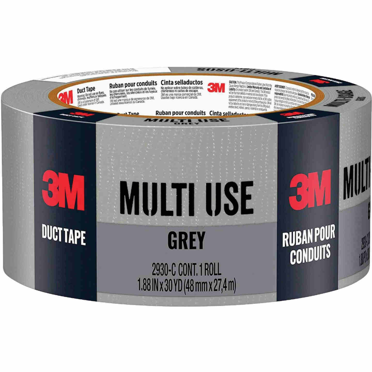 3M 1.88 In. x 30 Yd. Multi-Use Home & Shop Duct Tape, Gray Image 1