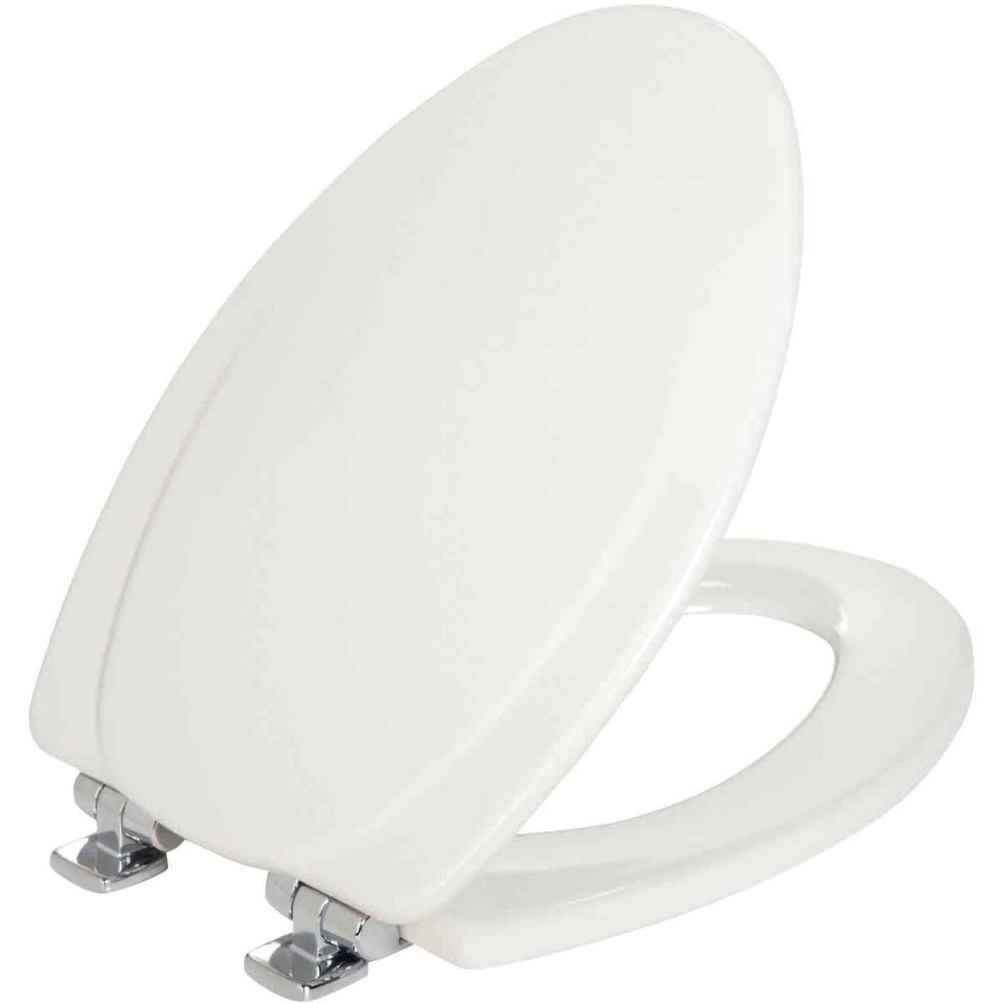 Mayfair Elongated Closed Front Slow-Close White Wood Toilet Seat Image 1
