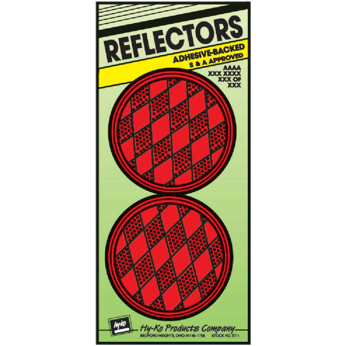 Hy-Ko 3-1/4 In. Dia. Round Red Press-On Reflector (2-Pack) Image 1