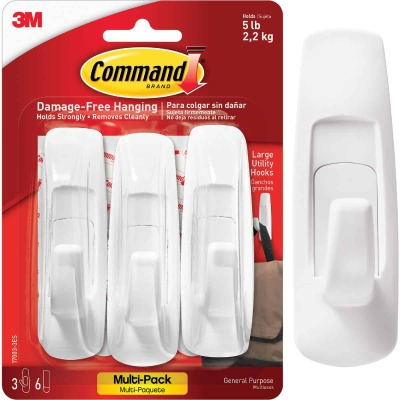 3M Command Large Utility Adhesive Hook (3-Pack)