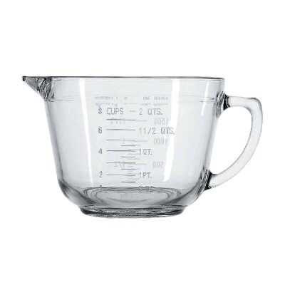 Anchor Hocking Essentials 8 Cup Clear Glass Measuring Batter Bowl