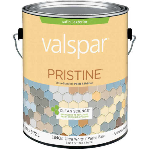 Valspar Pristine 100% Acrylic Paint & Primer Satin Exterior House Paint, Ultra White/Pastel Base, 1 Gal.