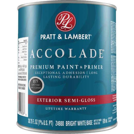 Pratt & Lambert Accolade 100% Acrylic Paint & Primer Semi-Gloss Exterior House Paint, Bright White Base, 1 Qt.
