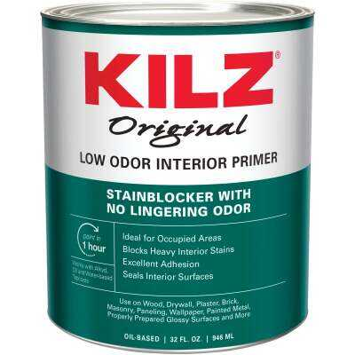 Kilz Original Low Odor Oil-Based Interior Primer Sealer Stainblocker, White, 1 Qt.