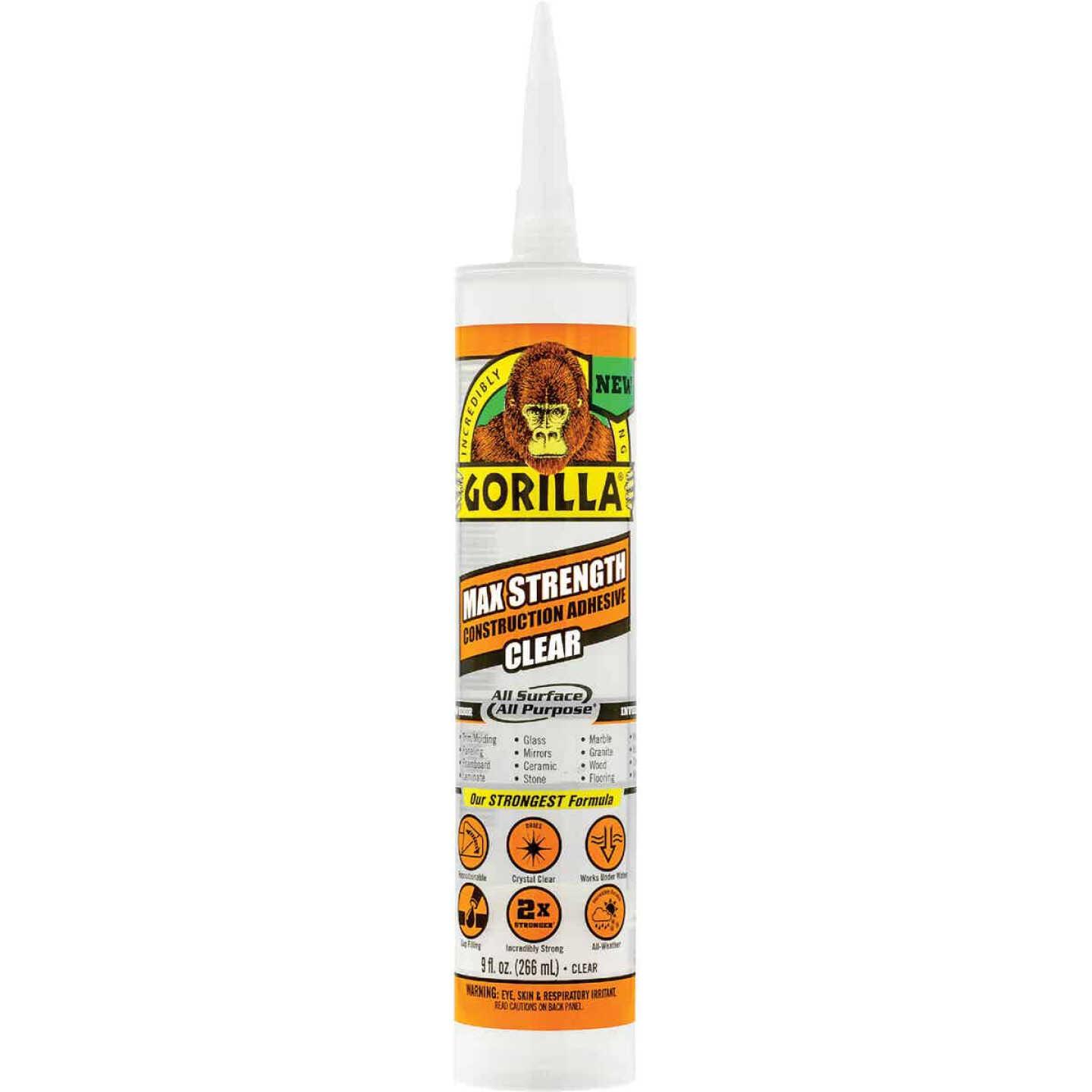 Gorilla 9 Oz. Clear Max Strength Construction Adhesive Image 1