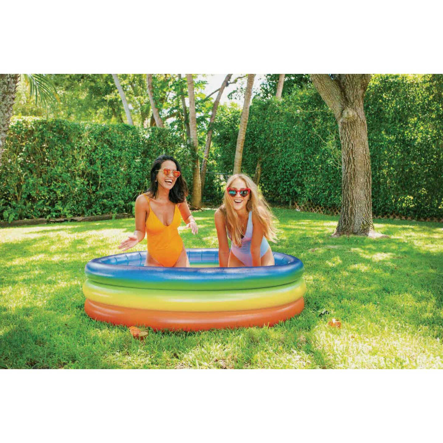 PoolCandy 15 In. D. x 60 In. Dia. Rainbow Haze Inflatable Sunning Pool Image 3